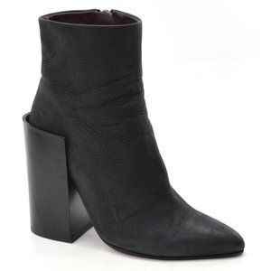 Acne Tess Black Chunky Heel Ankle Boots size 37